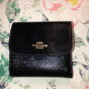 Coach black patent leather wallet